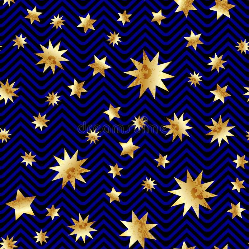 与抽象金子闪烁星纹理的无缝的传染媒介在黑和蓝色条纹 背景金黄葡萄酒 库存例证