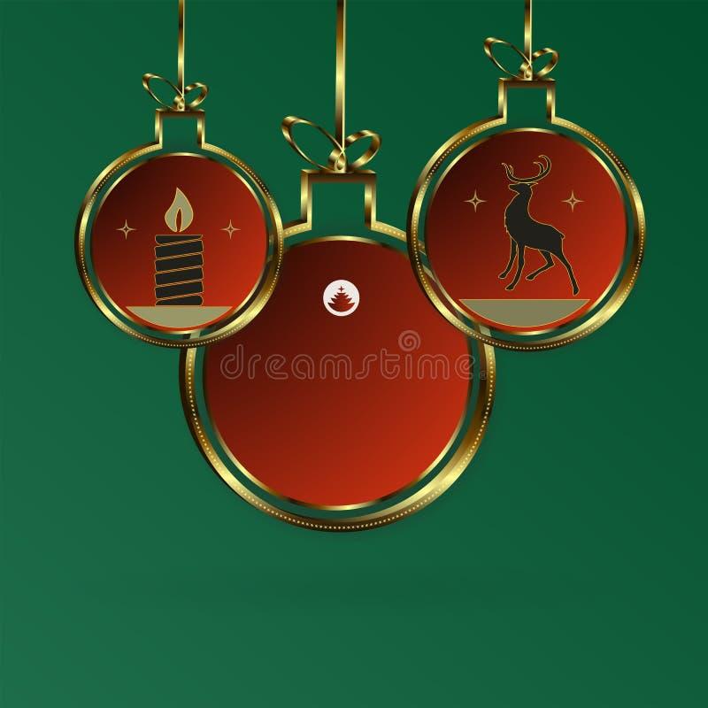 与抽象金被构筑的球的圣诞节构成与鹿和蜡烛剪影  库存例证