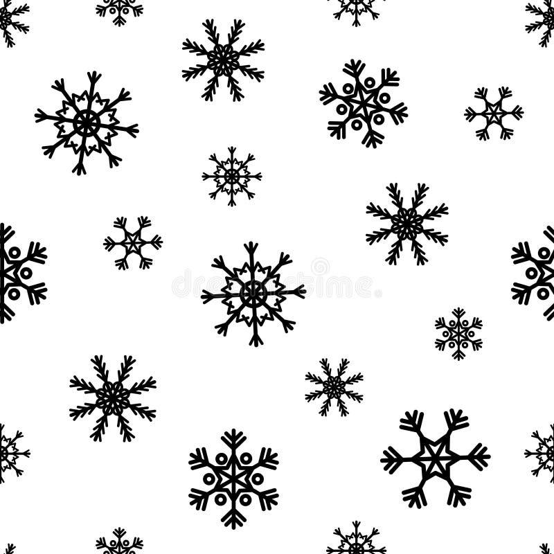 与抽象雪花的传染媒介圣诞节无缝的样式 库存例证