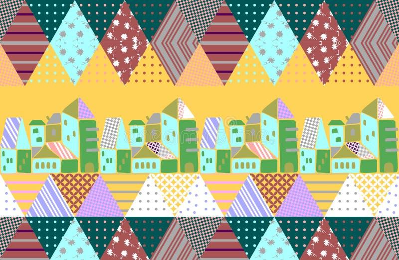 与抽象风景的水平的补缀品样式在明亮的黄色背景 在种族样式的传染媒介例证 绿色城镇 向量例证