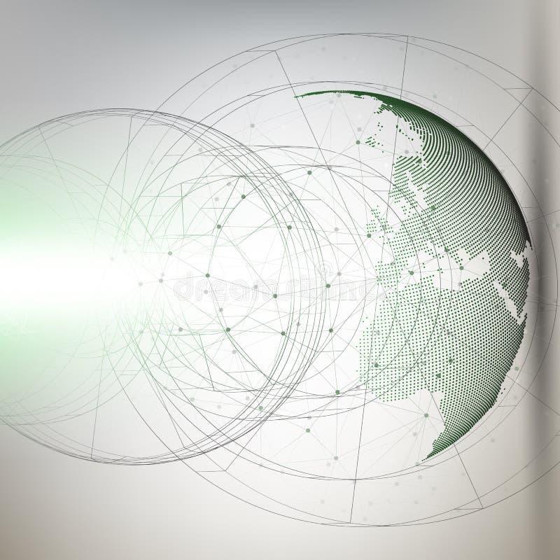 与抽象建筑的三维被加点的世界在灰色背景,低多设计传染媒介的地球和分子 库存例证