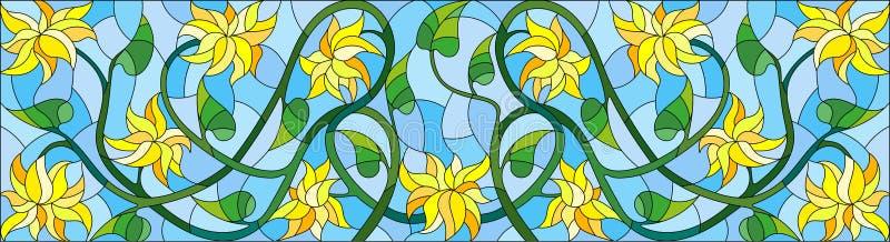 与抽象黄色花的彩色玻璃例证在蓝色背景,水平的取向 皇族释放例证