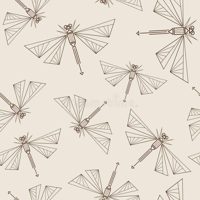 与抽象蜻蜓的无缝的样式 库存例证