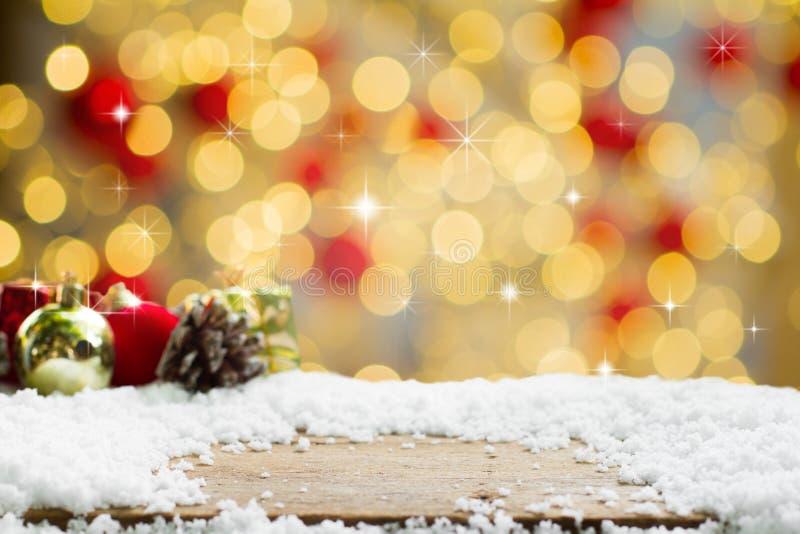 与抽象bokeh的圣诞节背景 库存照片