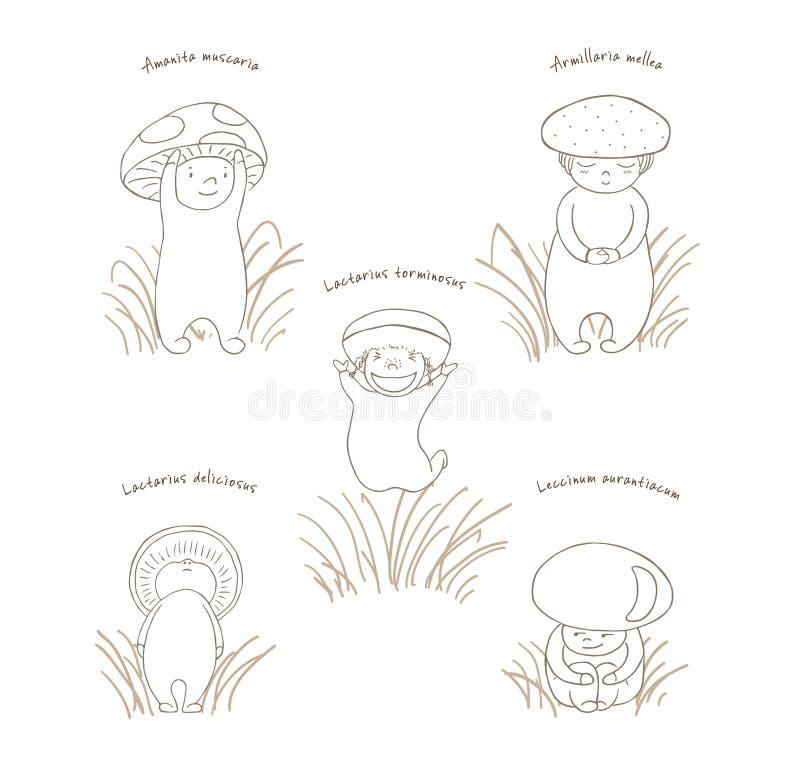 与拉丁名字,概述的蘑菇 向量例证