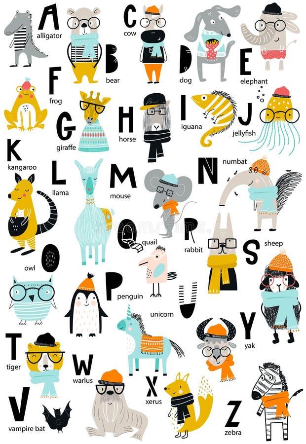 与拉丁字母和动画片动物的逗人喜爱的传染媒介动物园字母表海报 套孩子在斯堪的纳维亚样式的abc元素 库存例证