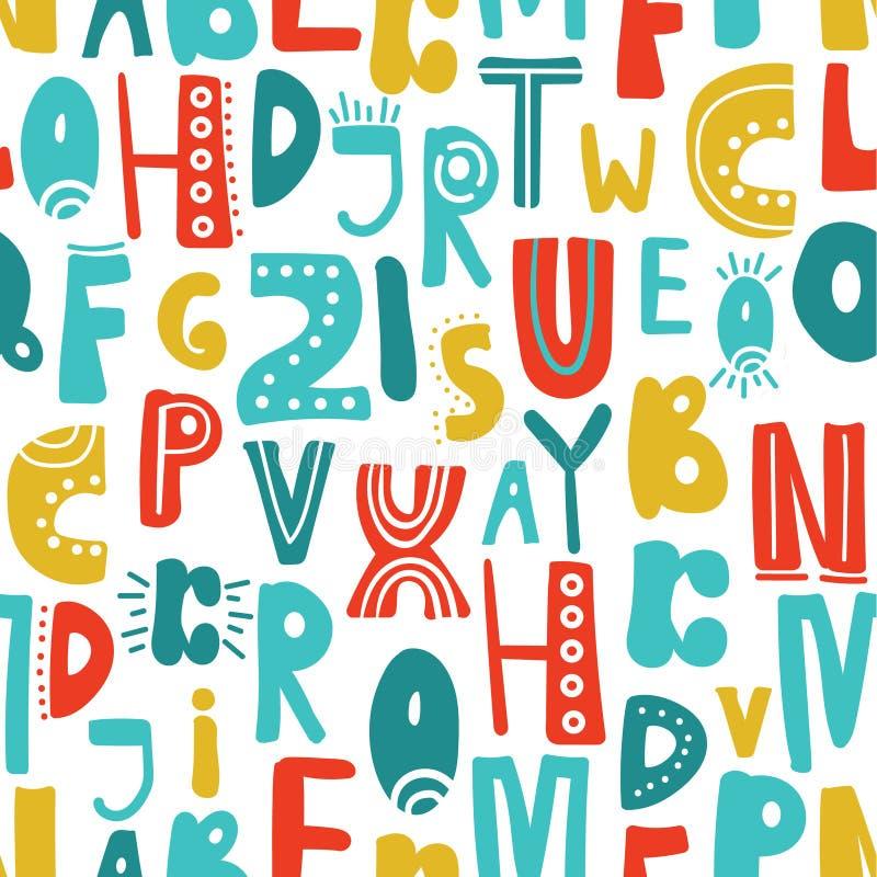 与拉丁字母的无缝的样式 向量例证