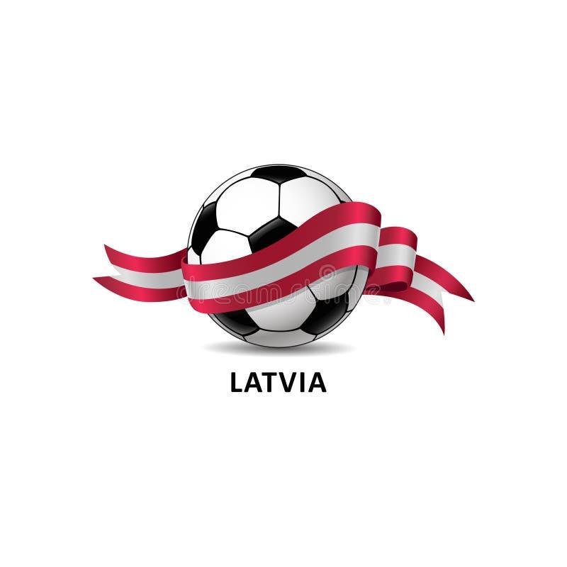 与拉脱维亚国旗五颜六色的足迹的橄榄球球 皇族释放例证