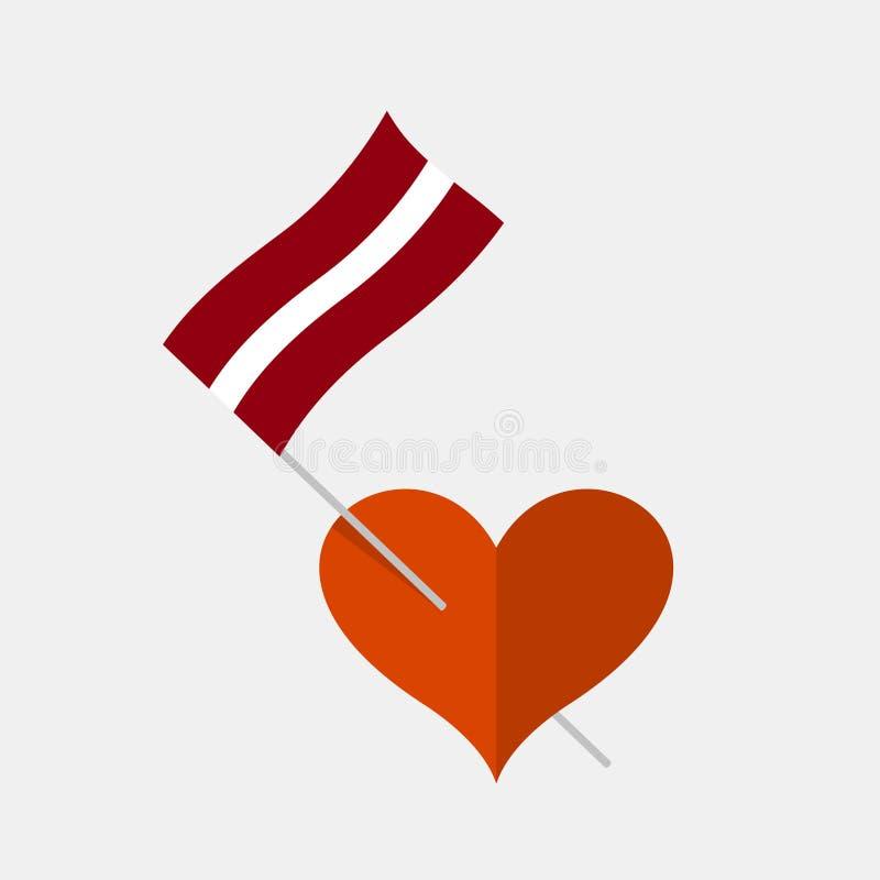 与拉脱维亚旗子的心脏象 向量例证