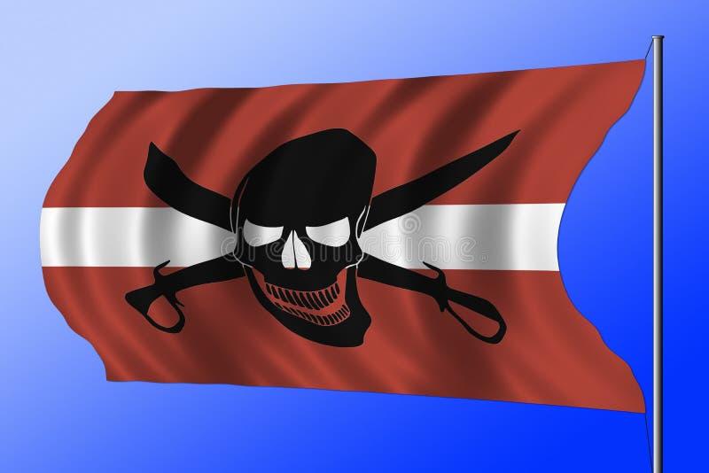 与拉脱维亚旗子结合的挥动的海盗旗子 免版税库存图片