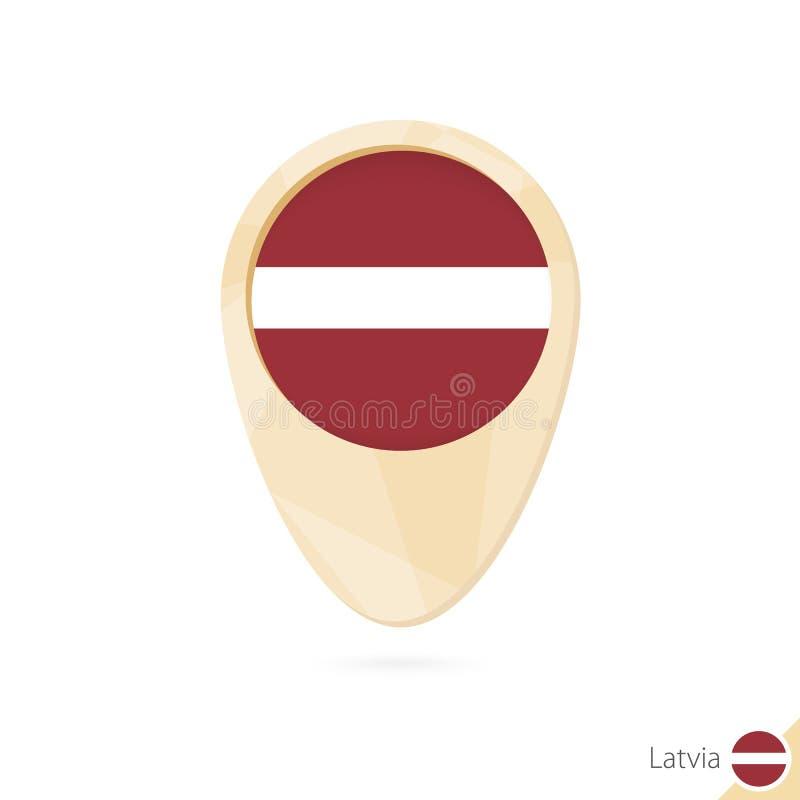 与拉脱维亚的旗子的地图尖 橙色抽象地图象 皇族释放例证