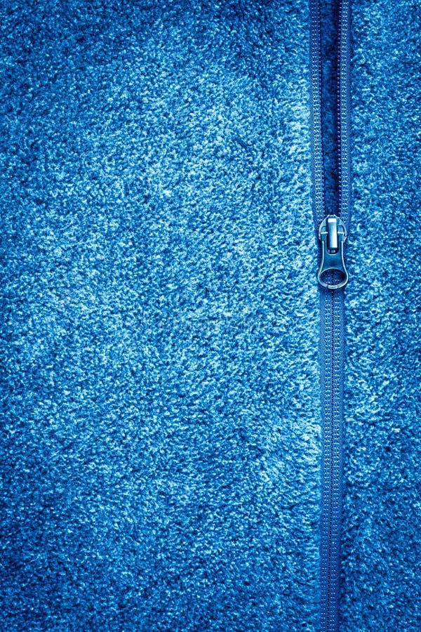 与拉链纹理的蓝色羊毛织品 库存照片