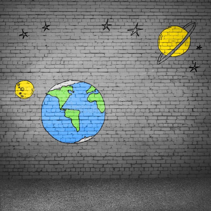 与拉长的地球行星的背景图象 库存例证