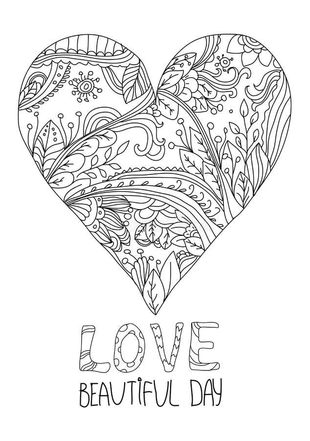 与拉长的心脏线的单色装饰样式 向量例证. 插画 包括图片
