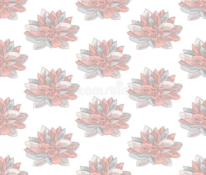 与拉长的花的传染媒介五颜六色的无缝的样式 库存例证