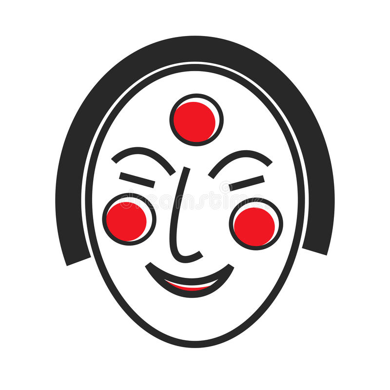 与拉长的面孔和红色圈子的韩国面具 向量例证