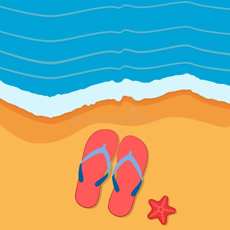 与拍击声的夏时背景在沙子 也corel凹道例证向量 向量例证