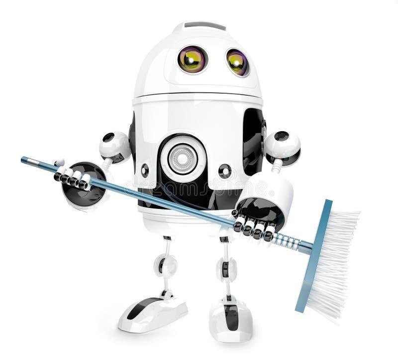 与拖把的机器人擦净剂 查出在白色 3d例证 Co 向量例证