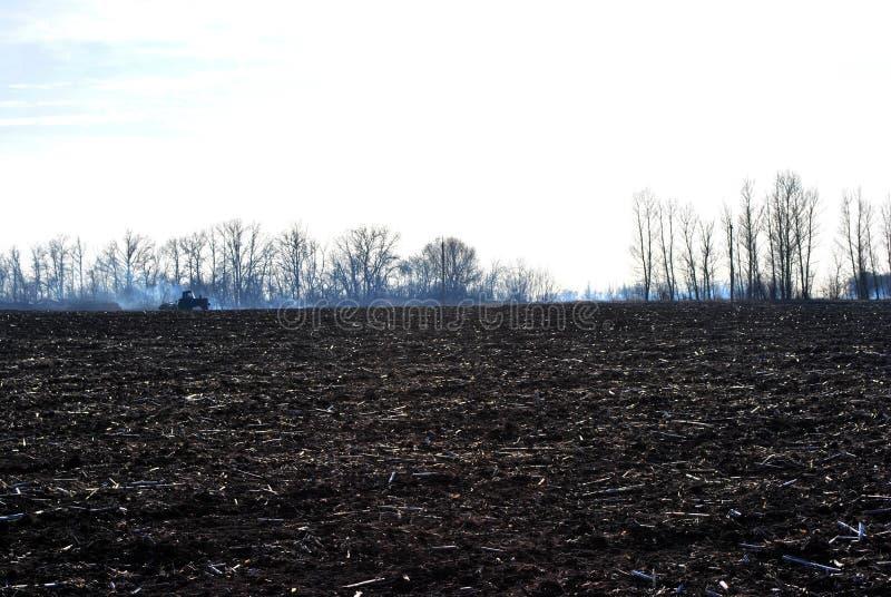 与拖拉机和树木种植线的被犁的领域腐植质 库存图片