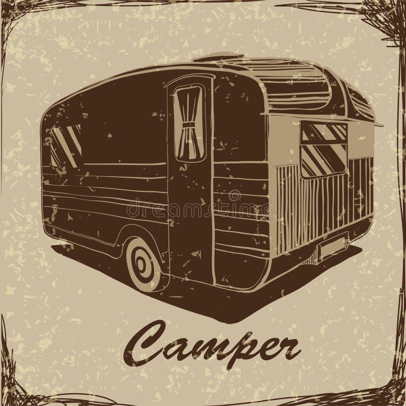 与拖车,车印刷露营者货车的有蓬卡车,剪影拖车,有蓬卡车的葡萄酒海报 纺织品的印刷品 免版税图库摄影
