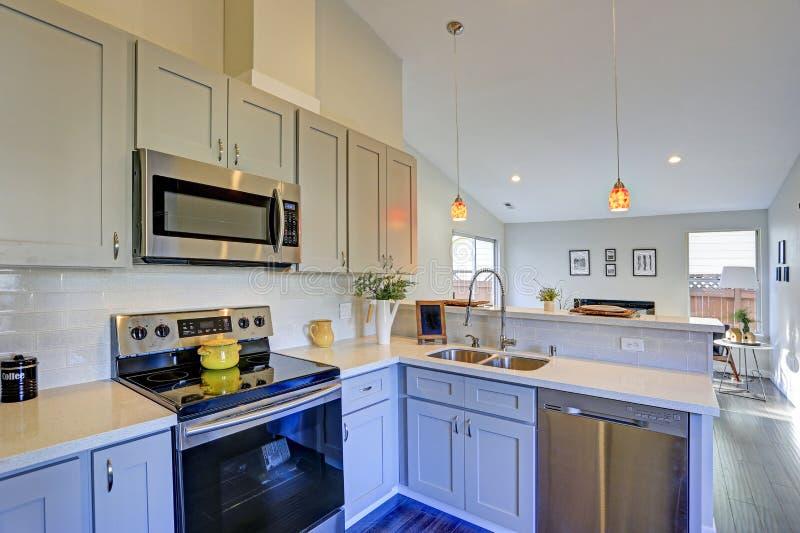与拱顶式顶棚的浅灰色的厨房室内部 免版税库存图片