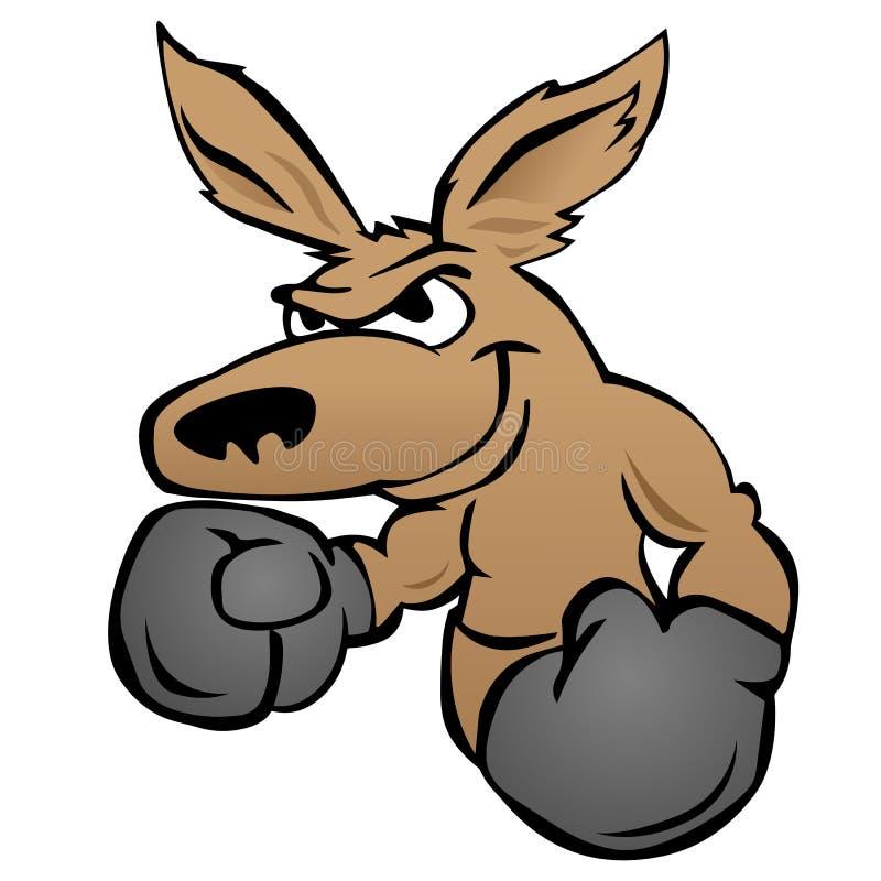 与拳击手套传染媒介例证的逗人喜爱的袋鼠 向量例证