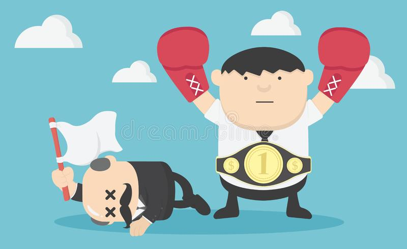 与拳击的例证概念愉快的商人,战斗的重要的商人 向量例证