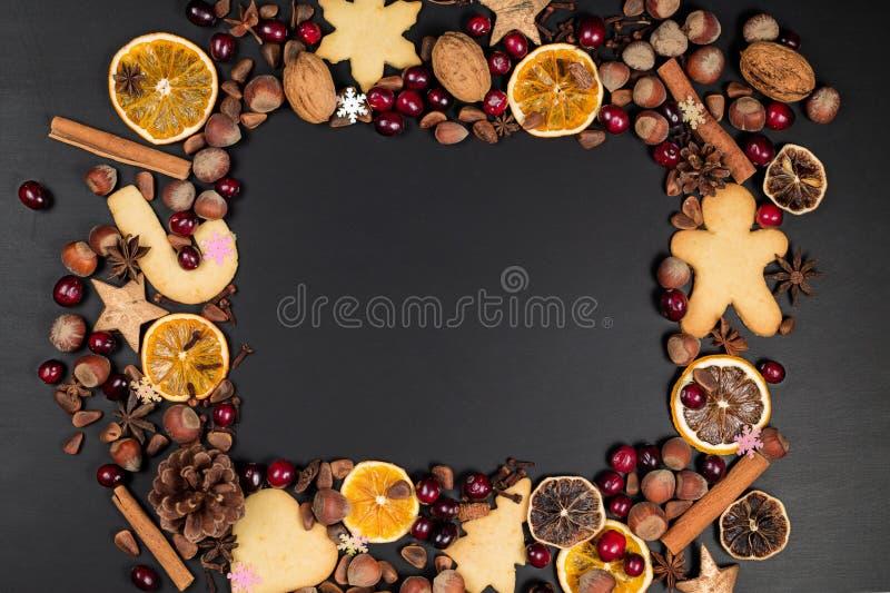 与拷贝空间的圣诞装饰背景在干燥frui外面 免版税库存图片