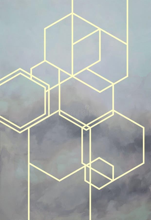 与拷贝空间的抽象五颜六色的淡色水彩地方的您的设计或邀请卡片 数字式艺术绘画 现代technol 库存例证