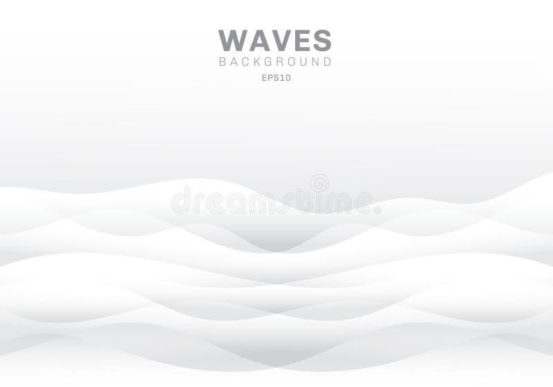 与拷贝空间的抽象白色波浪背景和纹理 光滑的波浪自然 皇族释放例证