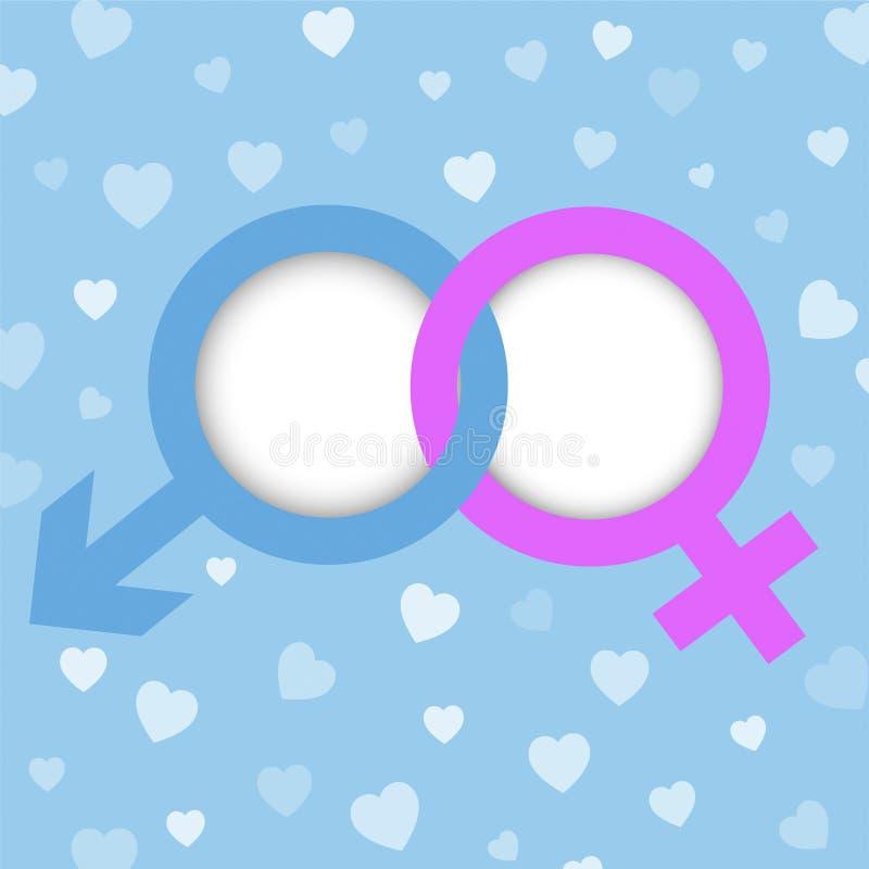 与拷贝空间的男性和女性标志在心脏仿造backgro 库存图片