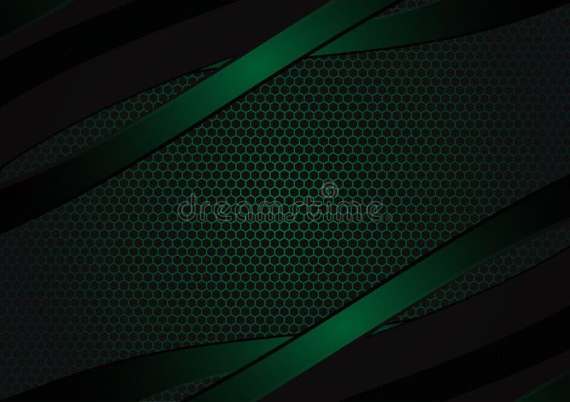 与拷贝空间的黑和绿色几何抽象传染媒介背景与拷贝空间现代设计 皇族释放例证