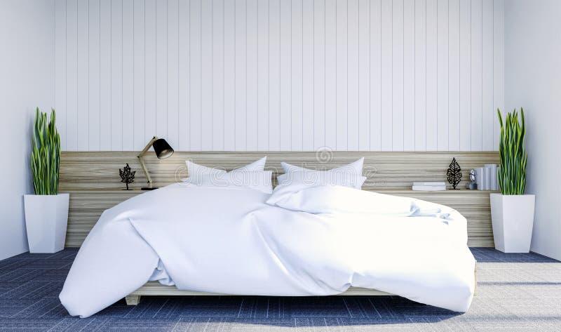 与拷贝spce的白色现代当代卧室内部在嘲笑的墙壁上 皇族释放例证