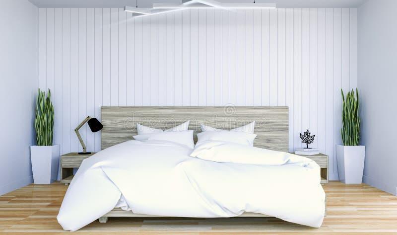 与拷贝spce的白色现代当代卧室内部在嘲笑的墙壁上 免版税库存照片