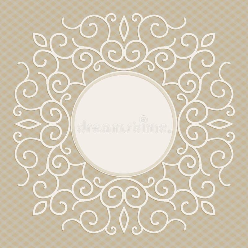 与拷贝空间的传染媒介时髦线性框架文本的-婚礼邀请设计模板 皇族释放例证