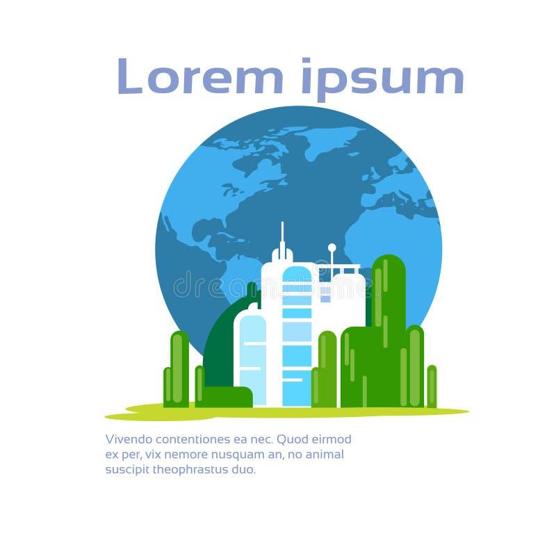 与拷贝空间的抽象工厂生产环境生态Infographic 向量例证
