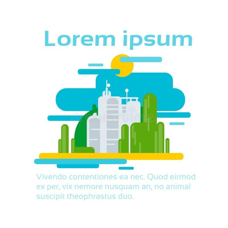 与拷贝空间的抽象工厂生产环境生态Infographic 库存例证