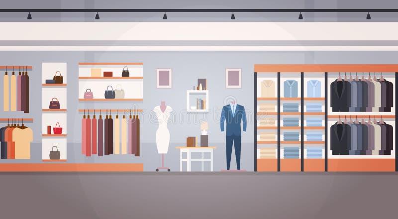 与拷贝空间的时尚商店内部衣裳商店横幅 皇族释放例证