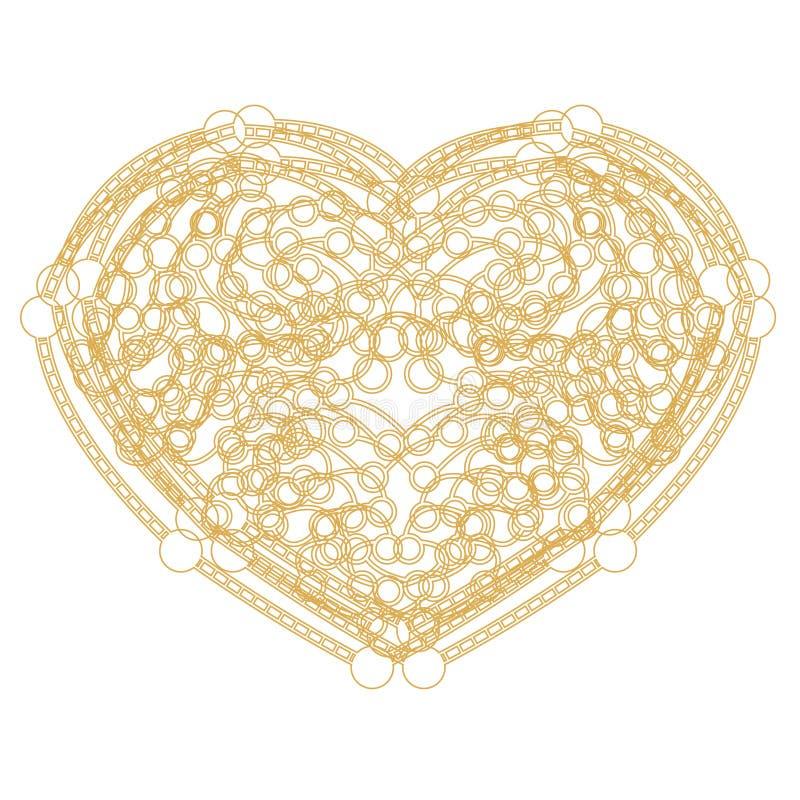 与拷贝空间的概述金黄心脏形状 皇族释放例证