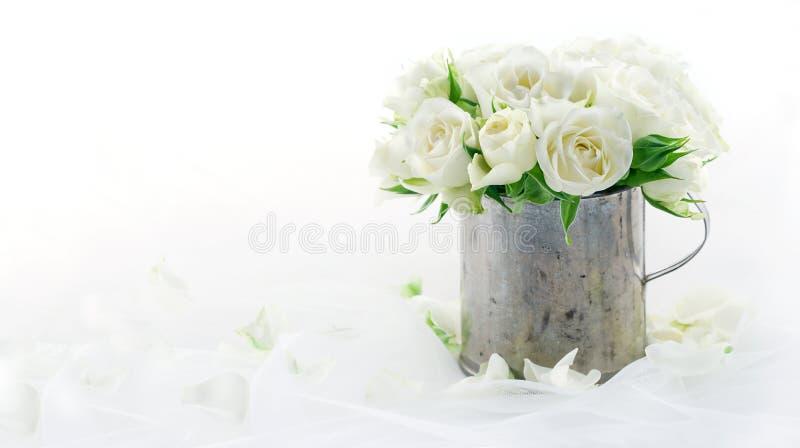 与拷贝空间的白色婚礼玫瑰 免版税库存照片