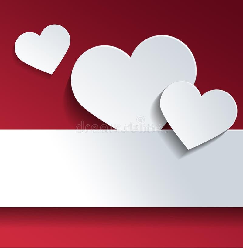 与拷贝空间的白色心脏反对红颜色 向量例证