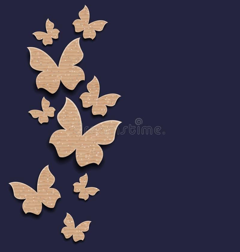与拷贝空间的纸盒纸蝴蝶 向量例证