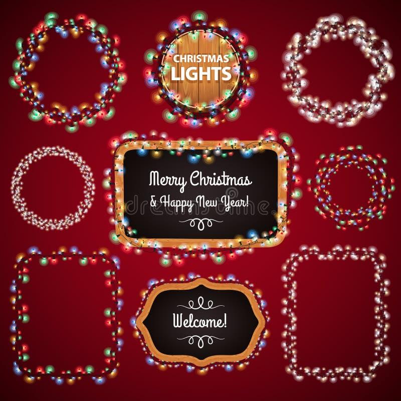 与拷贝空间Set4的圣诞灯框架 皇族释放例证