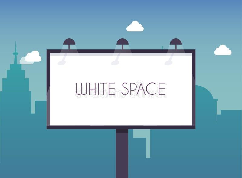 与拷贝站立空间的文本的广告牌高在大城市str 向量例证