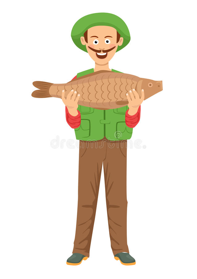 与拿着一条大鱼的髭的逗人喜爱的fishman 皇族释放例证