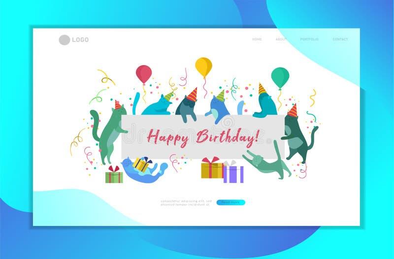与拿着与生日快乐邀请的逗人喜爱的猫的登陆的页模板空白的横幅 愉快的逗人喜爱的全部赌注 r 库存例证