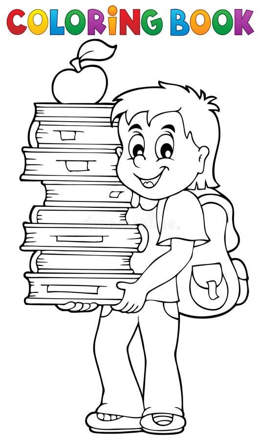 与拿着书的男孩的彩图 库存例证