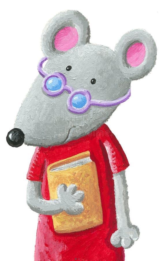 与拿着书的紫色玻璃的逗人喜爱的老鼠 向量例证