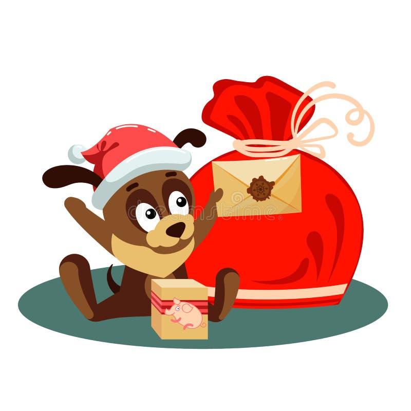 与拿着从圣诞老人的一个信封和坐在与礼物的大袋子前面的狗的圣诞卡 向量例证