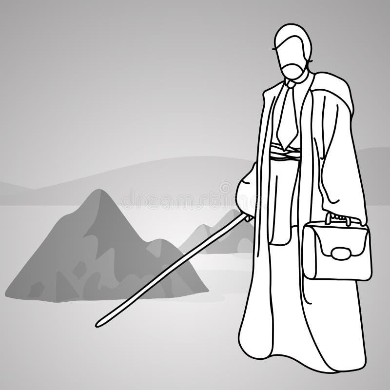 与拿着发光的军刀s的传统服装的老商人 向量例证